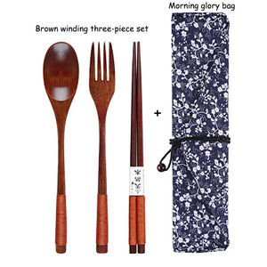 Baispo Portable Tableware Wooden Cutlery Sets with Useful Spoon Fork Chopsticks Travel Gift Dinnerware Suit with Cloth bag