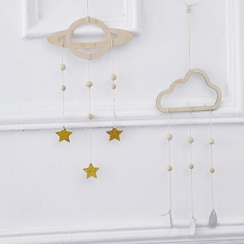 Simple Nordic Style Wooden Cloud Star Raindrop Hanging Pendant Home Decoration For Girl Boy Bedroom Wall Hanging Curtains Decor