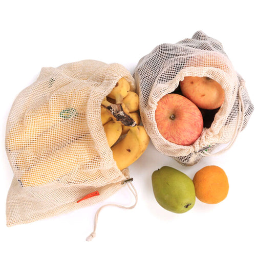 2019 Reusable Shopping Bag Organic Cotton Mesh Fruit Vegetable Drawstring Bag Women Casual Grocery Tote Bag Eco Friendly Bags