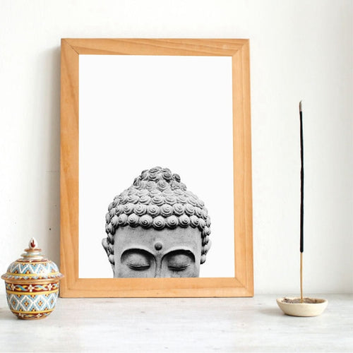 Buddha Statue Boho Wall Art Print And Poster Black White Yoga Gift Art Canvas Painting Buddha Wall Picture for Living Room Decor