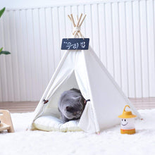 Load image into Gallery viewer, Plain White Canvas Dog Pet Cat Teepee Tipi Tent Without Cushion