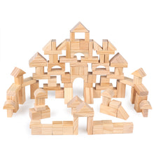 Load image into Gallery viewer, 100 Pcs/Lot Premium Wooden Building Blocks Set Children Toys Environmental Wooden Castle Blocks Kit Nature Wood Stacking Cubes