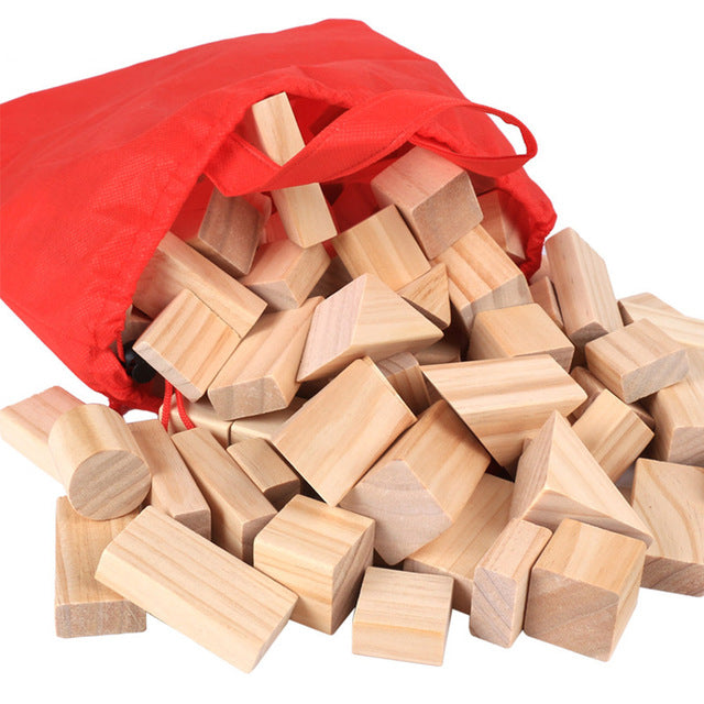 100 Pcs/Lot Premium Wooden Building Blocks Set Children Toys Environmental Wooden Castle Blocks Kit Nature Wood Stacking Cubes