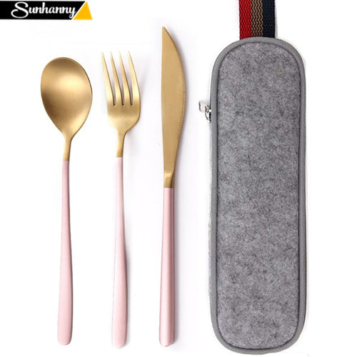 Dinnerware Set Travel Cutlery Set Camping Tableware Reusable Utensils Set with Spoon Fork Chopsticks Straw and Portable Case