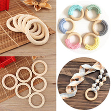 Load image into Gallery viewer, 5pcs Baby Toy Wooden Teether Rings Bracelet DIY Crafts Natural New Round Connectors Circles Rings Teether Rattles Kids Baby Toys