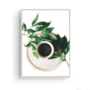 Nordic Home Decoration Palm Green Plants Landscape Coffee Posters Wall Art Pictures Canvas Painting Kitchen Restaurant Decor