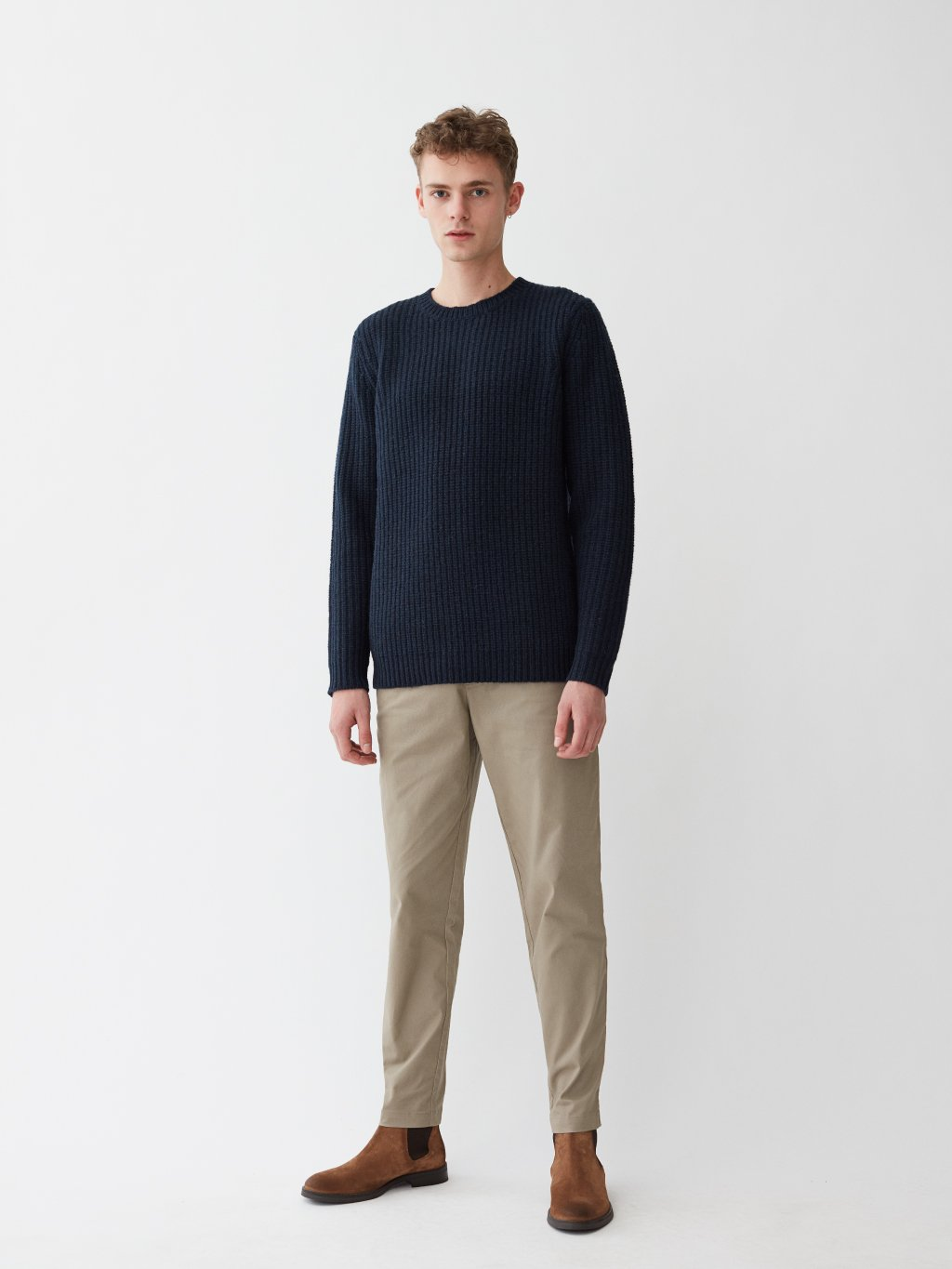 Cartona Lambswool Knit | Dark Navy Melange