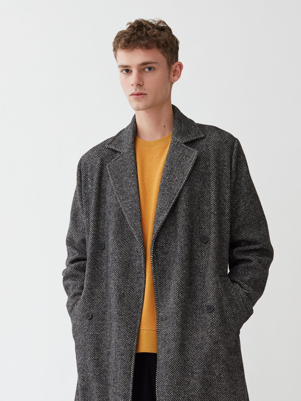 Frankie Double Breasted Coat | Herringbone