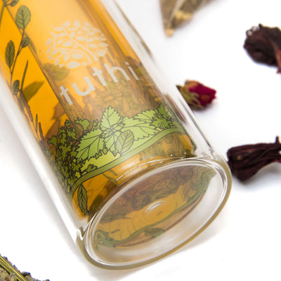 Glass Tea Tumbler - Herbal Garden