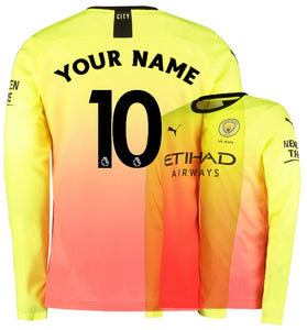 info for c6bb6 cd47b Custom Name Number Manchester City 3rd Third 2019-2020 Men Long Sleeve  Jersey Football Soccer 19/20