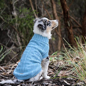 Dog wearing Huskimo Chunky Knit Jumper in Steel Blue