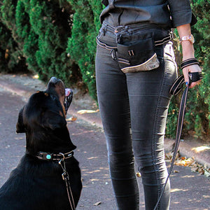 Dog with owner holding Huskimo Multilead and wearing a Huskimo Treat Bag
