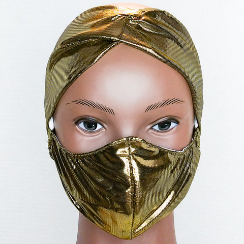 GLAM HEADBAND & MASK SET Gold