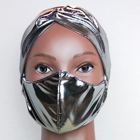 GLAM HEADBAND & MASK SET Silver