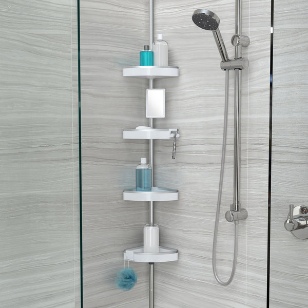 HiRISE 4 Tension Shower Caddy with Mirror - Better Living Products Canada