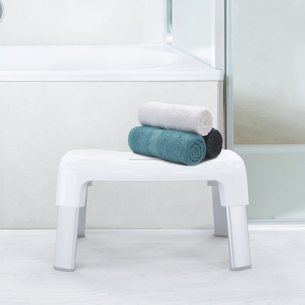Toilet Bundle: SMART 4 Multi-Purpose Bathroom Stool; LOOEEGEE Hygienic Toilet Squeegee; ROLLO Hexacube Toilet Tissue Reserve Matte White