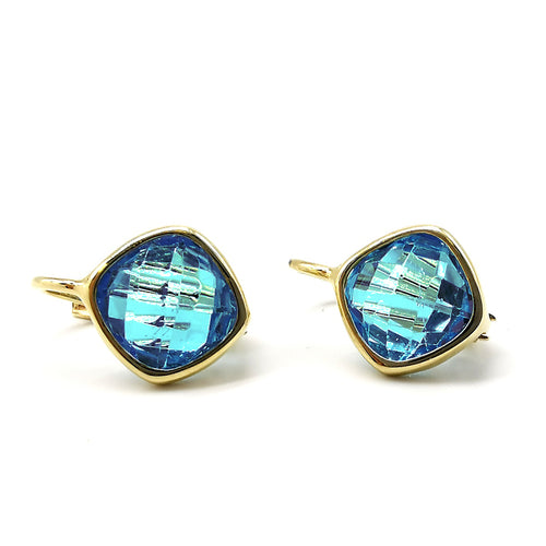 Blue Topaz Gold Earrings