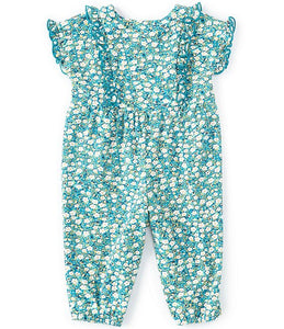 Bonnie Jean Baby Girls Flutter-Sleeve Ditsy-Floral Button Detail Coverall