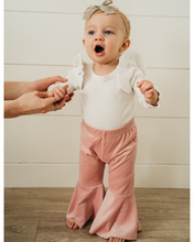 Bailey's Blossoms LINA PLEATED VELOUR BELL BOTTOMS - LOLLIPOP PINK