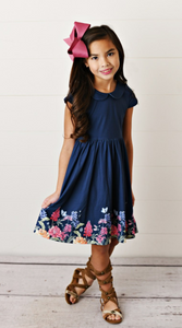 Oopsie Daisy Navy Peter Pan Collar Dress with Floral
