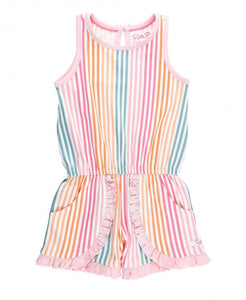 Ruffle Butts Dreamsicle Stripe Ruffle Trim Romper