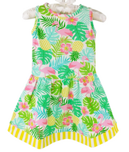 AnnLoren Girls Pink Flamingo & Palm Trees Swing Sleeveless Dress