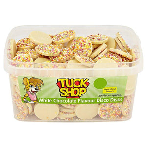 Tuck Shop White Chocolate Flavour Disco Disks Tub Of 120