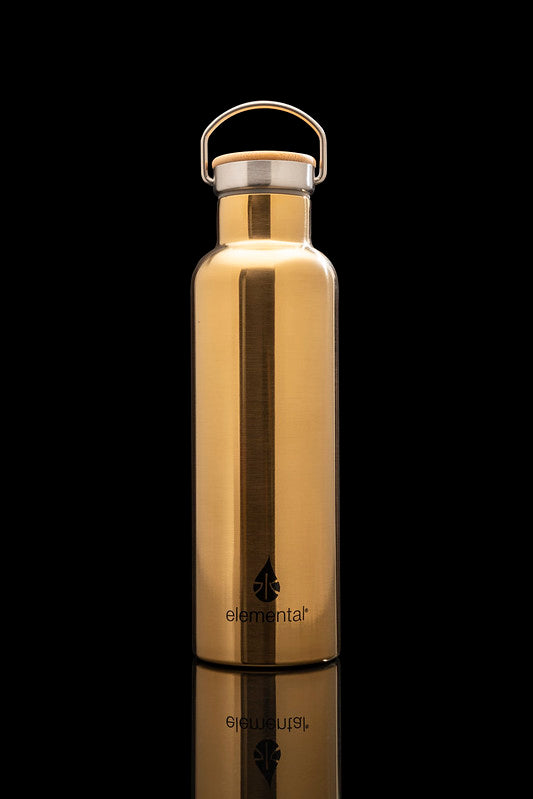 ELEMENTAL STAINLESS STEEL CLASSIC WATER BOTTLE - 25OZ GOLD