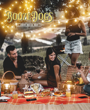 Booze Dogs Liquor Infused Bratwurst & Hot Dog Fall Firepit Variety Pack  (Serves 78)