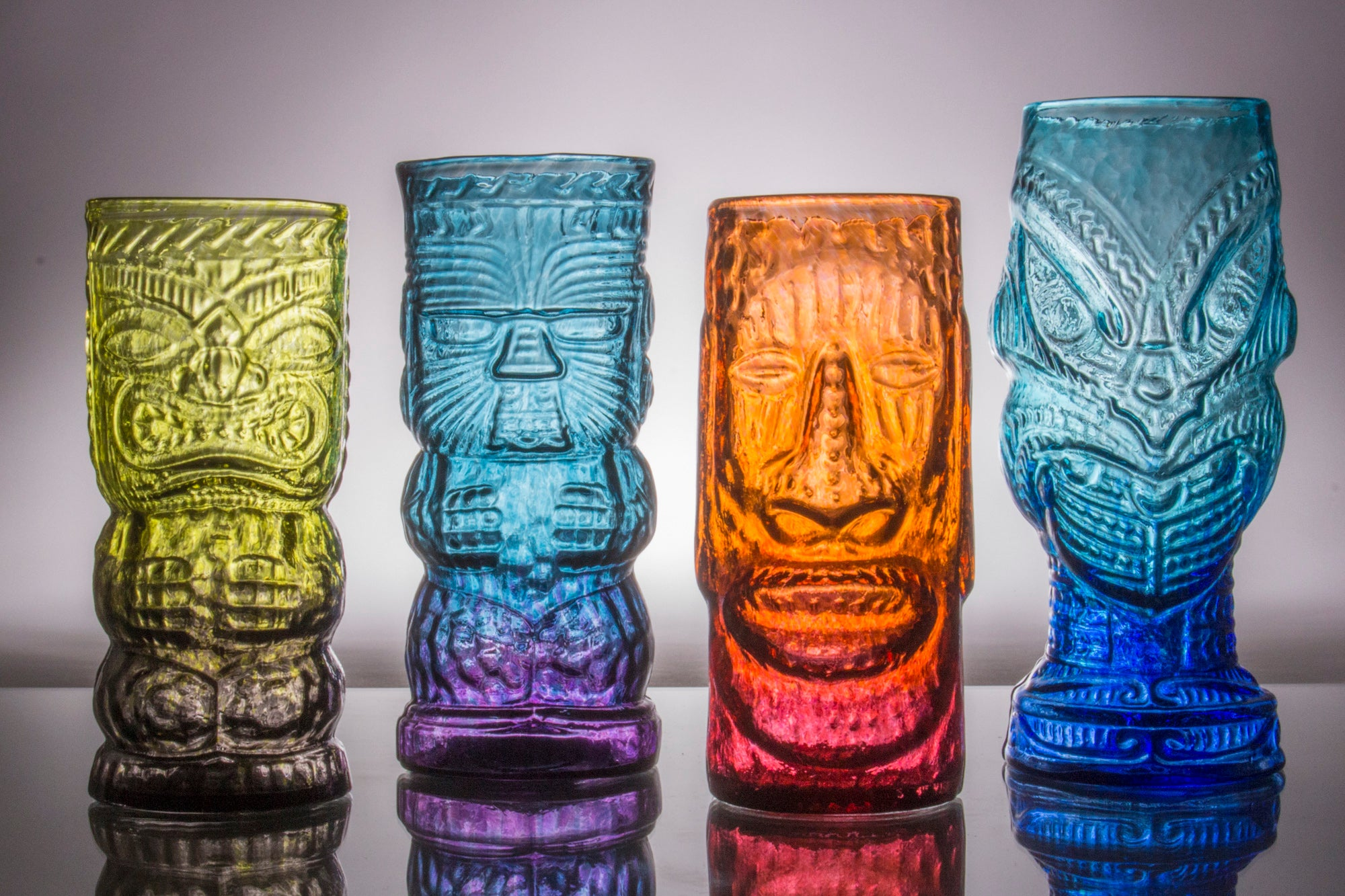 Andrew Iannazzi Studio Glass Design Set of 4 Rainbow Tiki Mugs