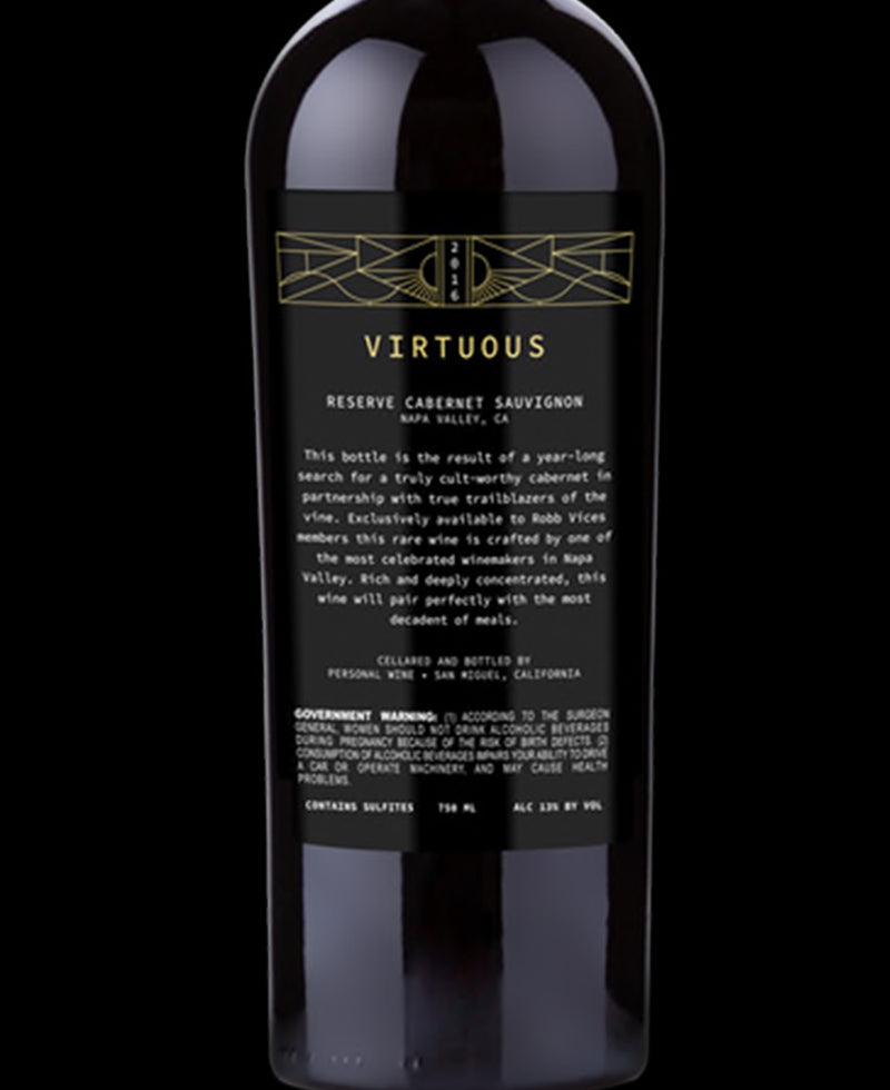 Virtuous Napa Valley Cabernet Sauvignon 2016 (Custom Option)
