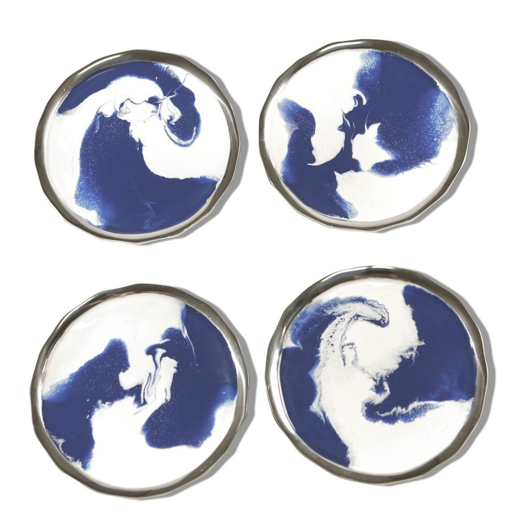 Lunares Aquos Appetizer Plates in Blue and White - Set of 4