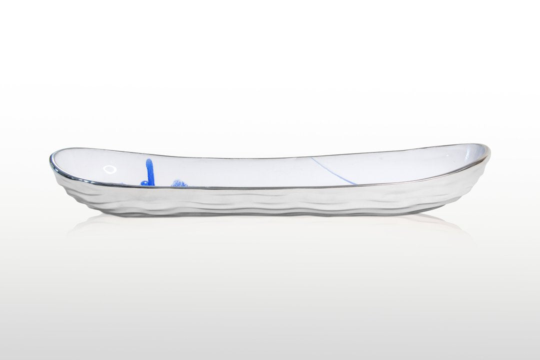 Lunares Aquos Long Bread Tray in Blue and White