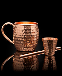 Old Moscow Copper Mugs, Straw, and Jigger – Set of 4