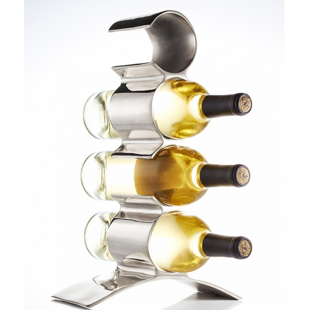 Lunares Munich 4 Bottle Wine Holder in Silver