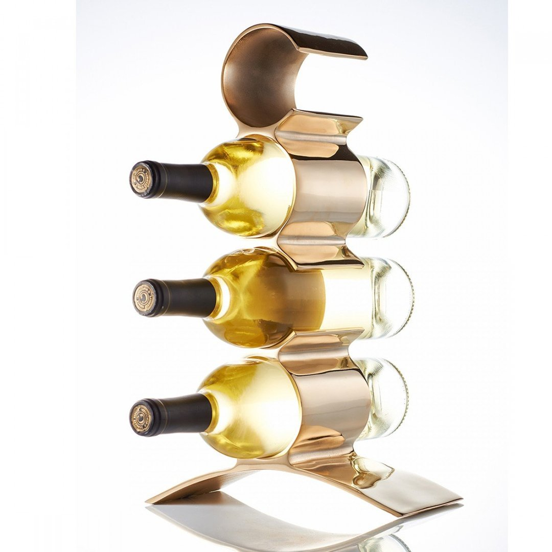Lunares Munich 4 Bottle Wine Holder in Gold