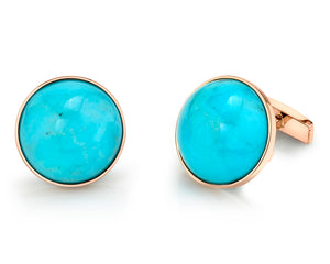 AMUSEZ 18K Yellow Gold Amazonite Cuff Links