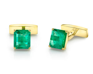AMUSEZ 18K Yellow Gold Emerald Cuff Links