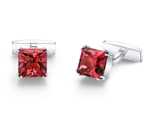 AMUSEZ 18K White Gold Tourmaline Cuff Links