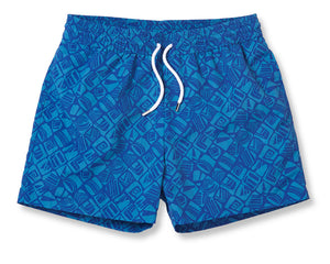 Frescobol Carioca Sport Short Swim Trunks - Talha Navy/Reef Blue
