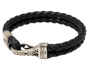 Nialaya Jewelry Black Braided Bracelet with Silver Clasp