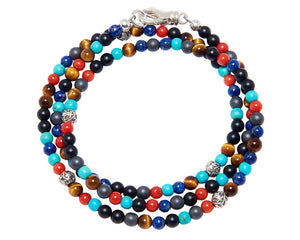Nialaya Jewelry Mykonos Wrap Bracelet - Turquoise, Red Glass Beads, Blue Lapis, Hematite & Onyx