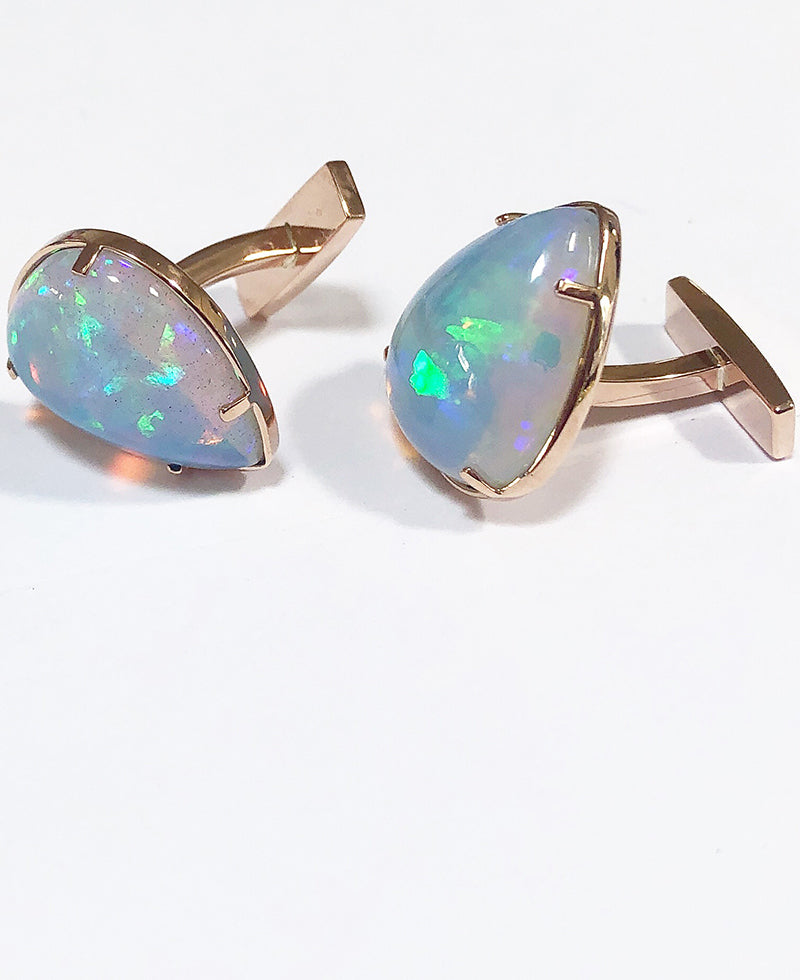 AMUSEZ 18K Rose Gold Ethiopian Opal Cuff Links