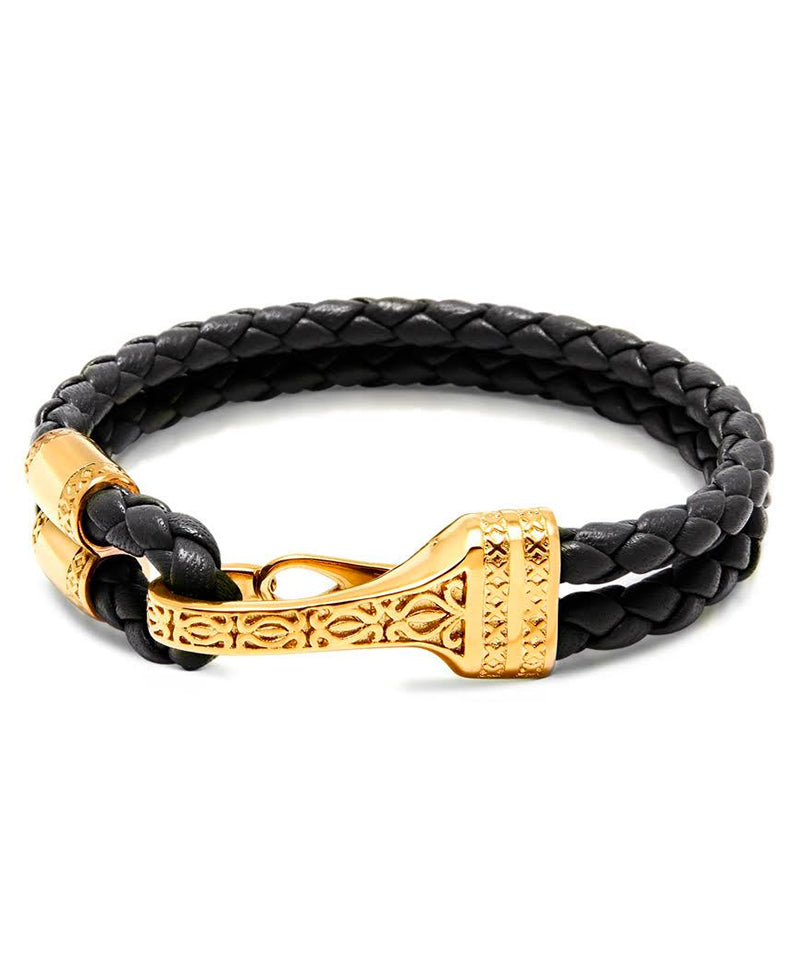 Nialaya Jewelry Black Braided Bracelet with Gold Clasp