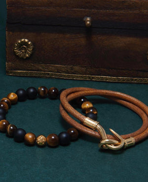 Nialaya Jewelry Tiger's Eye & Matte Onyx Wristband