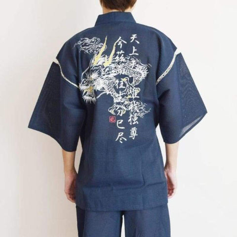 blue jinbei japanese home wear for men with dragon print