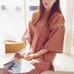 Women Japanese traditional festival wear with red ocean wave pattern