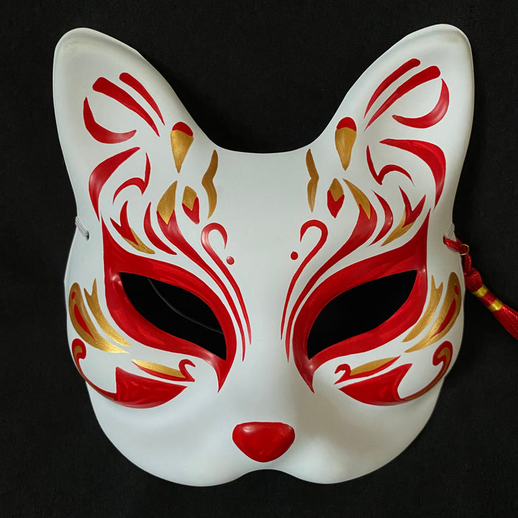 Half Face Kitsune Mask - Phoenix Tail