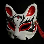 Half Face Kitsune Mask - The Third Eye in Red