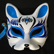 Half Face Kitsune Mask - The Third Eye in Blue